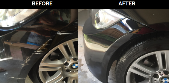 front bumper scrapes and scratches restored