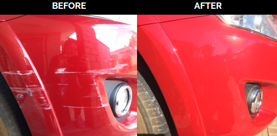 Front Bumper Scrape before and after repair by mobile bumper repairs perth