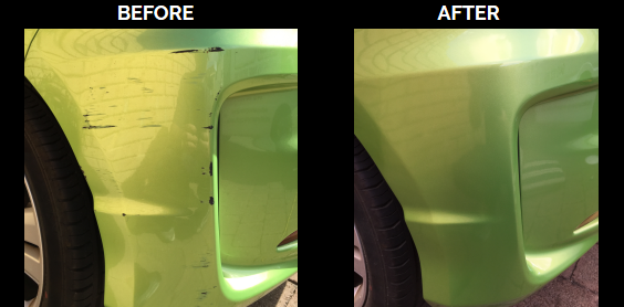 front left bumper scrape before and after repair by #mobilebumperrepairsperth