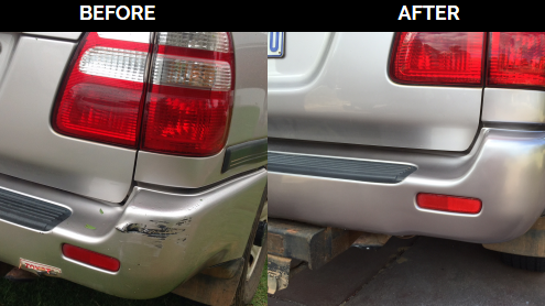 Mobile bumper repair before and after